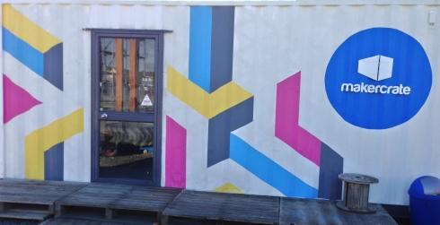 MakerCrate entrance, via the ubiquitous pallets