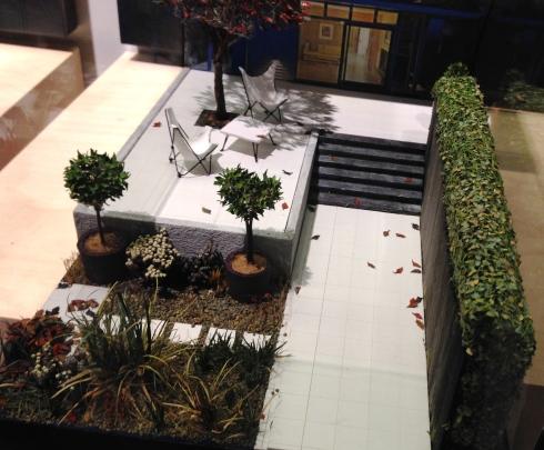 Diorama of a modern style garden