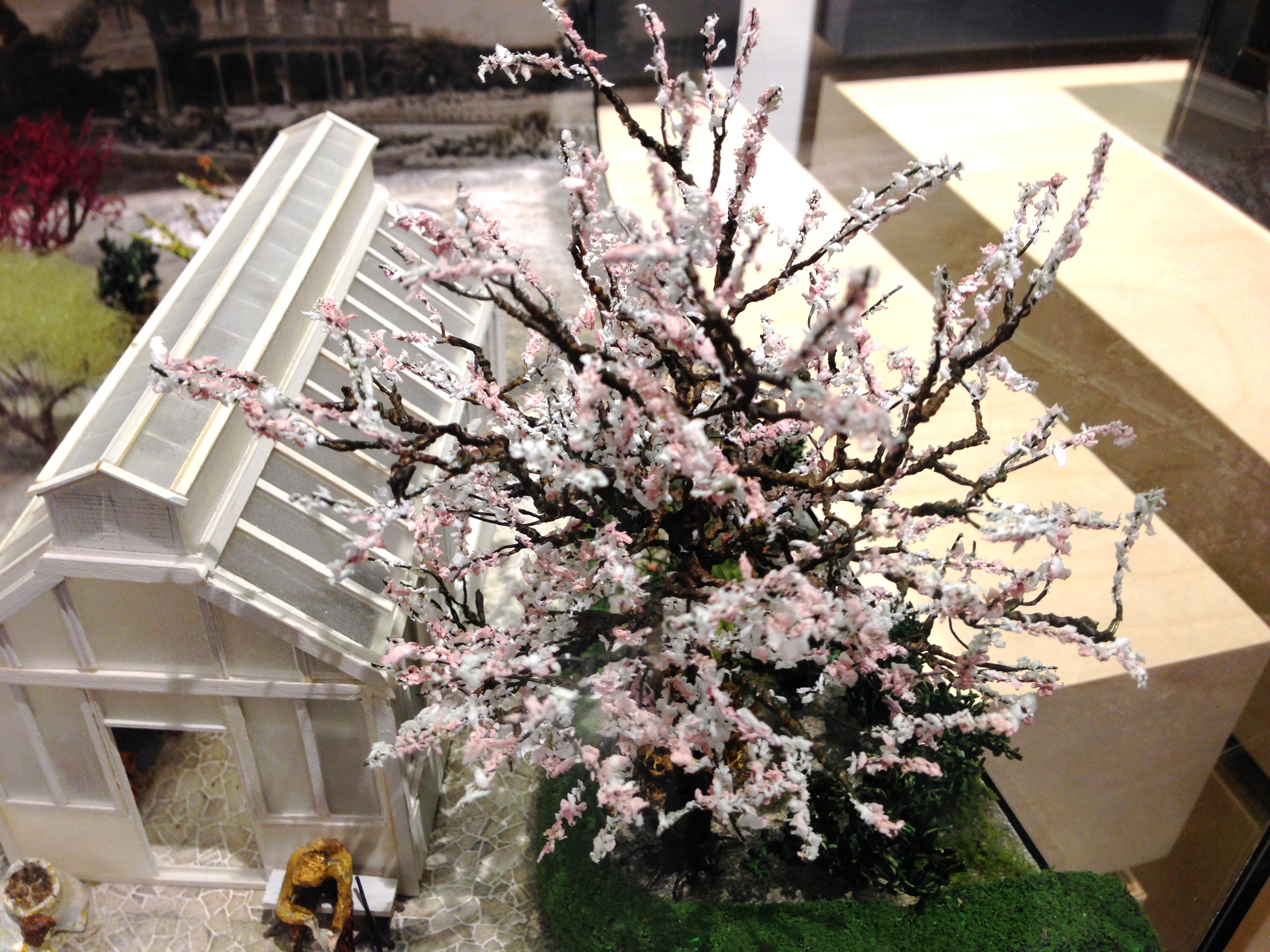 Diorama including a cherry blossom tree