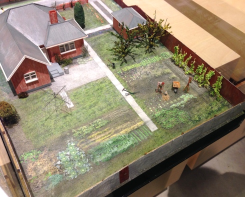 Diorama with vegetable garden